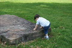 Boy Climbing Large Rock At Park Royalty Free Stock Images