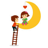 Boy climbing on the moon where sitting girl with heart, valentine day Stock Image