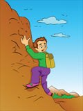 Boy Climbing a Mountain, illustration Royalty Free Stock Photos