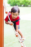 The boy climbing the net Royalty Free Stock Photo