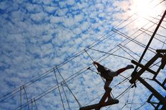 High ropes challenge course royalty free stock image