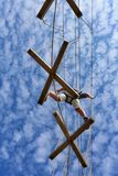 High ropes challenge course stock image