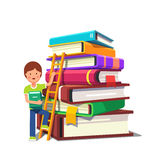 Boy climbing up ladder on a pile of books. Boy kid climbing up a ladder on a pile of big hard cover books. School education and knowledge growth concept royalty free illustration