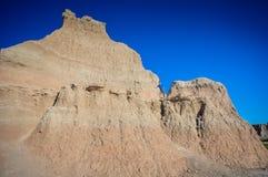 Boy Climbs Ridge - Badlands National Park - South Dakota Stock Photo