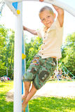 The boy climbs the ropes Royalty Free Stock Photography