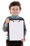 Boy with clipboard Royalty Free Stock Images