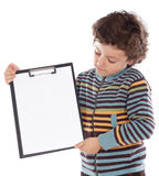 Boy with clipboard Stock Photos