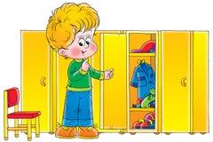 Boy in cloakroom vector illustration