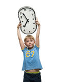 Boy with clock Royalty Free Stock Photography