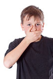 Boy with a closed mouth Royalty Free Stock Image