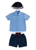 Boy clothing hat t shirt and short pants Royalty Free Stock Photo