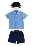 Boy clothing hat t shirt and short pants Royalty Free Stock Photo