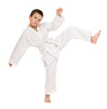 Boy in clothing for martial arts Royalty Free Stock Image