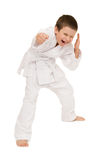 Boy in clothing for martial arts Royalty Free Stock Photo