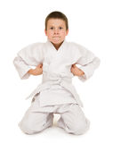Boy in clothing for martial arts Royalty Free Stock Images