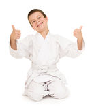 Boy in clothing for martial arts Stock Photo