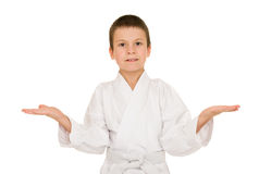 Boy in clothing for martial arts Royalty Free Stock Photography