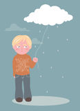 Boy and cloud Royalty Free Stock Photos