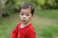 Boy clown. With makeup, posing out doors Royalty Free Stock Image