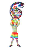 Boy in clown dress with balloon shape six Royalty Free Stock Images