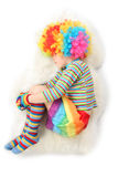 Boy in clown dress sleeping view frome above Royalty Free Stock Photos