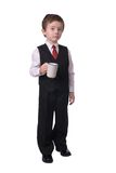 Boy with coffee cup Stock Images
