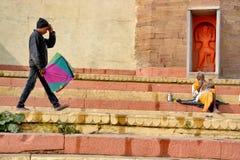 A boy collecting kite at varanasi india