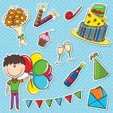 Boy with color balloons and birhday elements Royalty Free Stock Photo