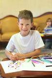 A boy draw by felt pen Stock Photos