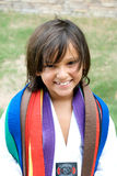 Boy with colored Karate belts Stock Photo