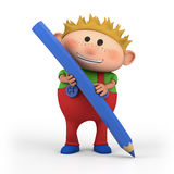 Boy with colored pencil. Cute cartoon boy with colored pencil - high quality 3d illustration Stock Images