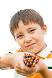 Boy with colored pencils Royalty Free Stock Images