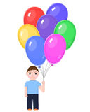 Boy with Colorful balloons Stock Image