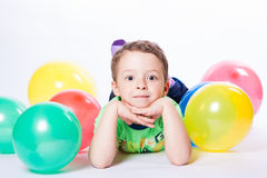 Boy with colorful balloons Royalty Free Stock Photos