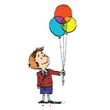 Boy and colorful balloons Royalty Free Stock Photos