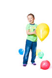 Boy with colorful balloons Stock Photography