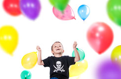 Boy with colorful balloons Stock Photos