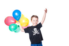 Boy with colorful balloons Stock Images