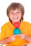 Boy with colorful balls Royalty Free Stock Images