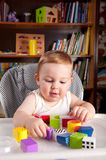A boy and colorful blocks Stock Photos