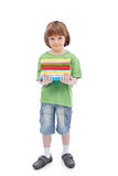 Boy with colorful books Stock Photography
