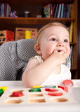 Boy and colorful toy blocks Stock Photography
