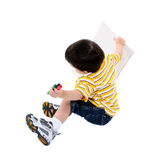 Boy With Coloring Book and Jumbo Crayons Royalty Free Stock Photos