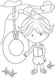 Boy coloring page Royalty Free Stock Photos