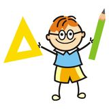 Boy and colors and brush. Boy and drawing stock, vector icons. Boy and ruler and pencil. Funny illustration Royalty Free Stock Images