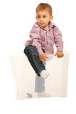 Boy coming out from box Royalty Free Stock Photos