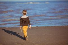 A boy is coming to the sea with a stick in his hand Royalty Free Stock Image