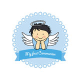 Boy Communion card. Boy First Communion card. angel boy Royalty Free Stock Photos