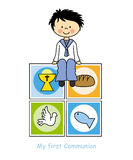 Boy Communion card. Boy First Communion card. religion icons Royalty Free Stock Images