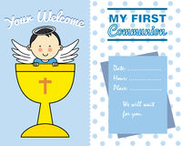 Boy Communion card. Boy First Communion card. space for text Stock Photo